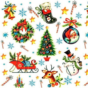 Merry Christmas xmas stars bells snowflakes candy canes kittens cats stockings wreaths bows baubles Santa Claus Sleigh presents gifts christmas trees snowman snowmen snow reindeer deer candles vintage retro kitsch socks
