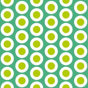 Yellow-green + white buttonsnap polka dots on emerald by Su_G_©SuSchaefer