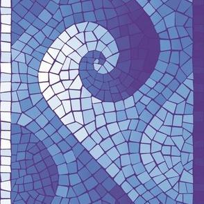 healing waves mosaic border - purple, blue, white
