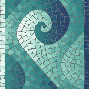 wave mosaic border - navy, teal, white