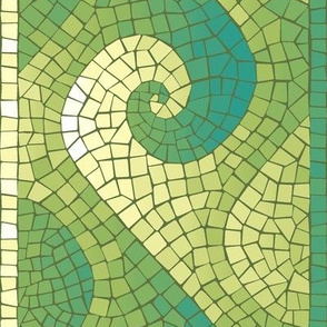 wave mosaic border - teal, green, yellow, white