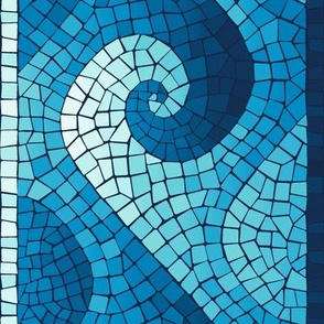 wave mosaic border - navy, blue, cyan, aqua, white