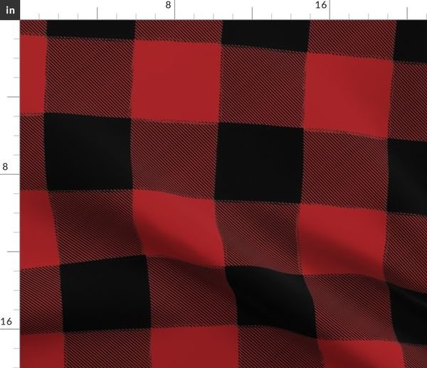 Fabric by the Yard Large Buffalo Check Flannel Plaid Red Black