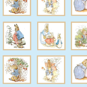 Peter Rabbit Quilt Block Panel No. 1  - Light Blue