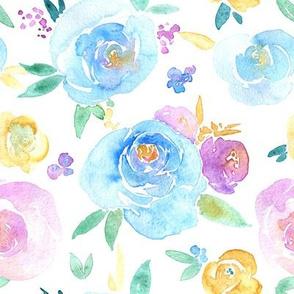 Watercolor flowers roses
