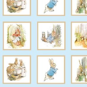 Peter Rabbit Quilt Block Panel No. 2  - Light Blue