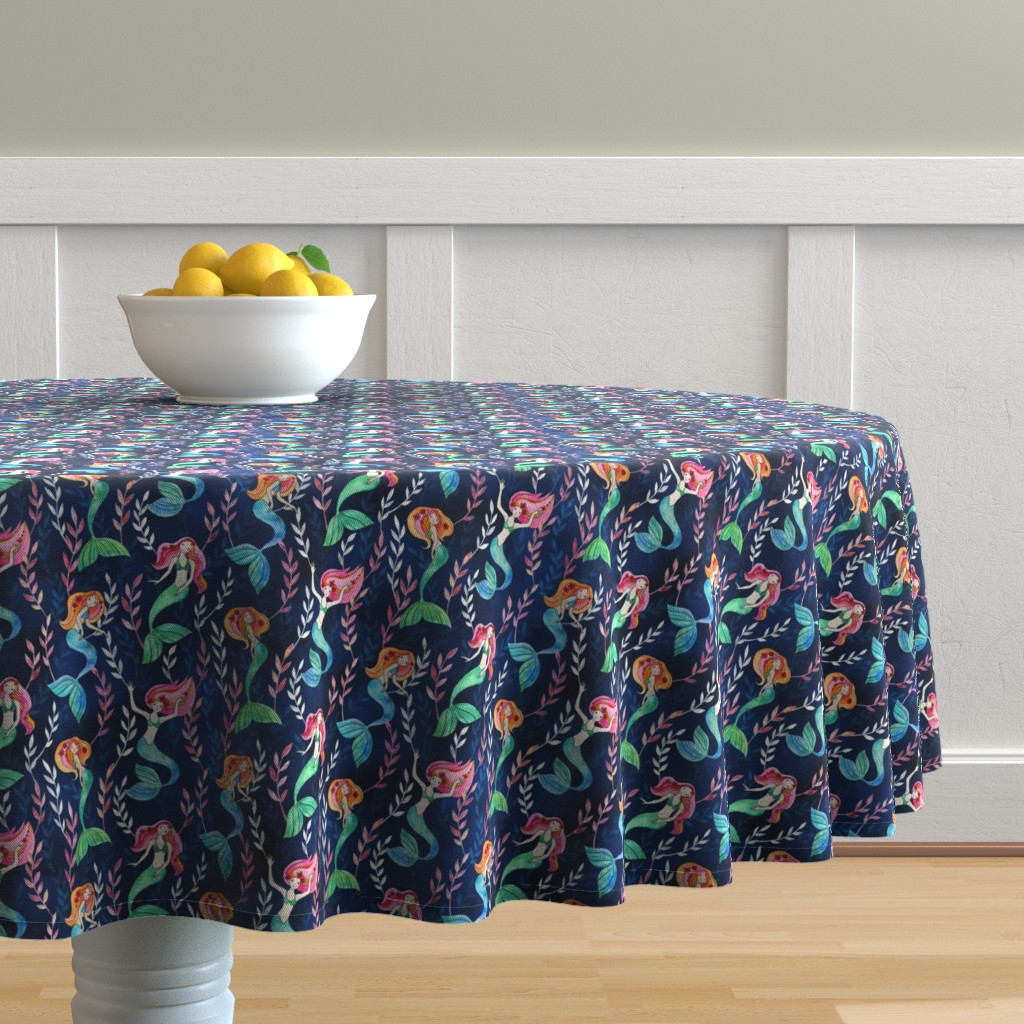 Malay Round Tablecloth featuring Little Merry Mermaids in Watercolor by micklyn