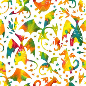 Fire dragons in orange and teal watercolors