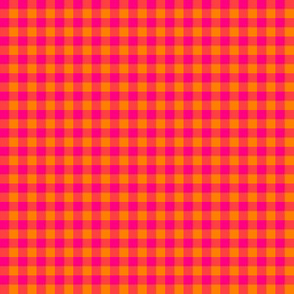 Hot pink and bright orange gingham