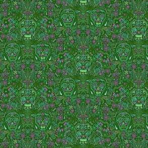 Tiny Sugar Skulls Green and Pink