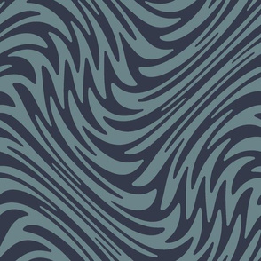 Bayeux feather swirl - navy