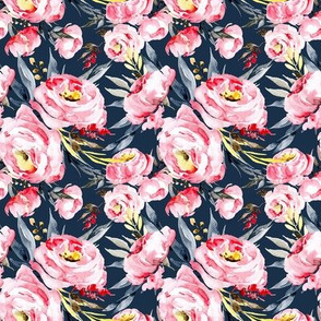 Watercolor pink blush peonies on dark navy blue background (small)