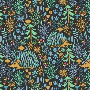 Bright forest with Hedgehogs