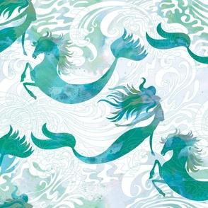 Mermaids & Seahorses in Sea Green