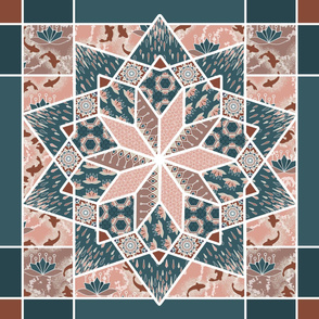 Star Quilt Squares in Peach and Blue, Wholecloth Quilt