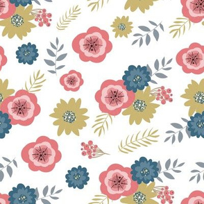 Floral gentle pattern with flowers and sprigs