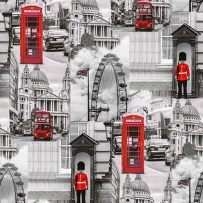 london in gray and red - large