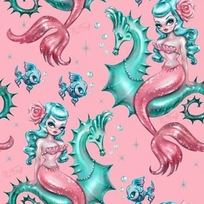 Mysterious Mermaid on Pink- SMALL