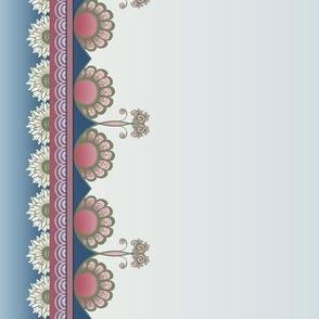 Art Nouveau Scallop Border, Blue and Pink