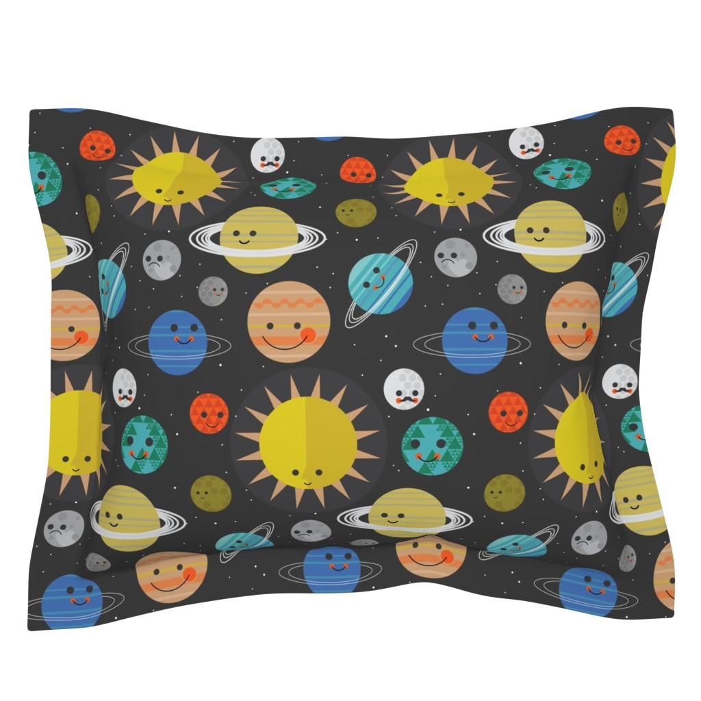 Sebright Pillow Sham featuring Solar System Buddies by bashfulbirdie