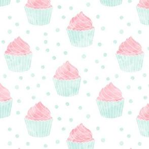 watercolor cupcakes (pink & blue)