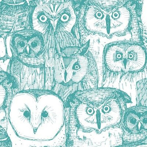 just owls teal blue