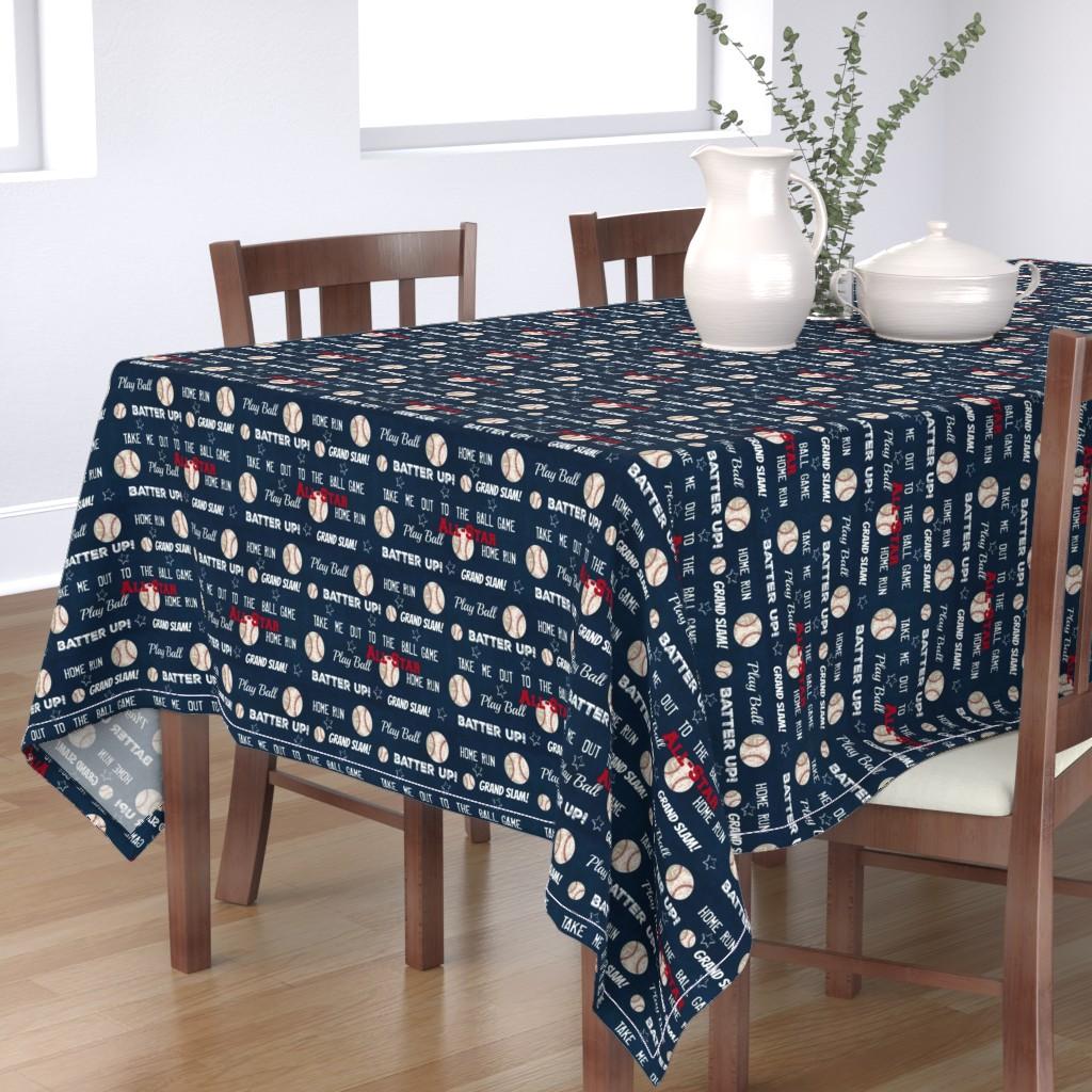 Bantam Rectangular Tablecloth featuring AllStar vintage navy  worn baseball stars and text  LARGE986 by drapestudio