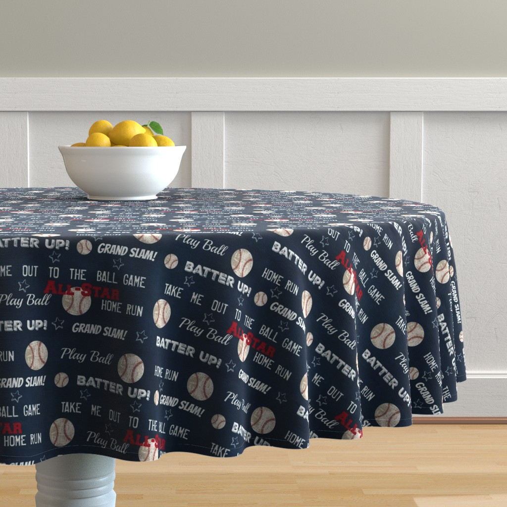 Malay Round Tablecloth featuring AllStar vintage navy  worn baseball stars and text  LARGE986 by drapestudio