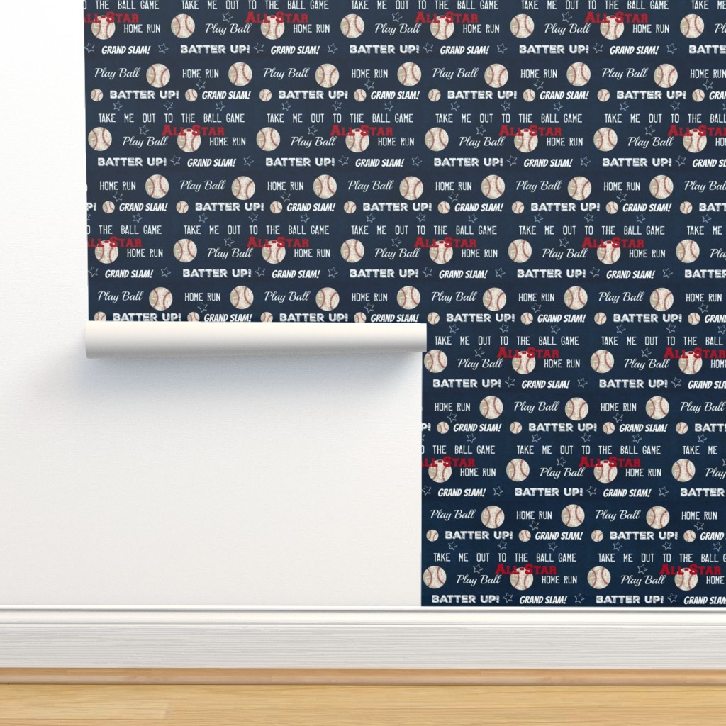 Isobar Durable Wallpaper featuring AllStar vintage navy  worn baseball stars and text  LARGE986 by drapestudio