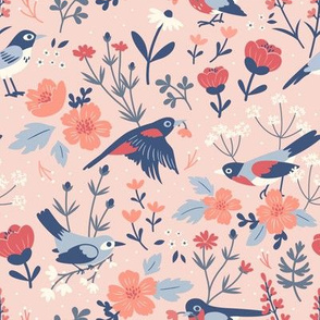 Bird & Blooms Pink