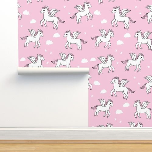 Wallpaper Pegasus Fabric Cute Pegasus Whimsical Fantasy Fabric For Girls Cute Baby Nursery Design Bubblegum Pink