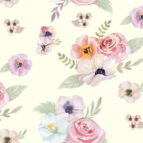 Watercolor Floral I - Cream