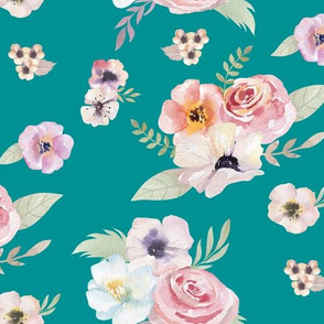 Watercolor Floral I - Turquoise