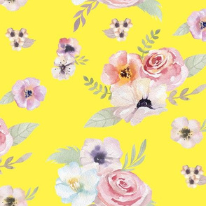 Watercolor Floral I - Yellow