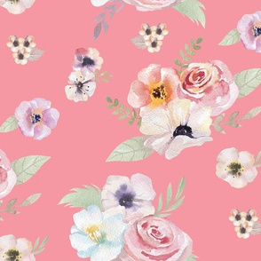 Watercolor Floral I - Pink