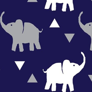 Elephants & Triangles - Navy Gray White