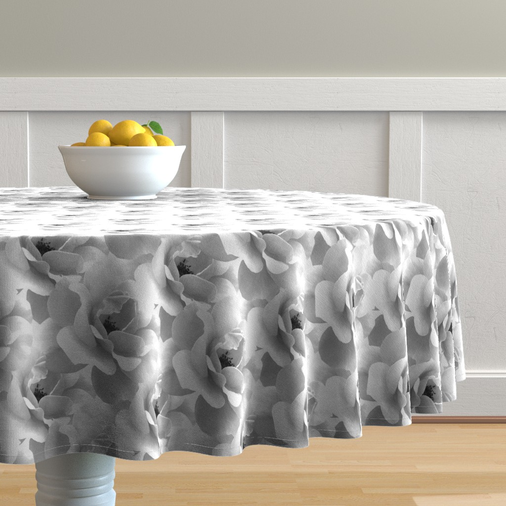 Malay Round Tablecloth featuring Ultimate_Rose_Grey by artonfabric