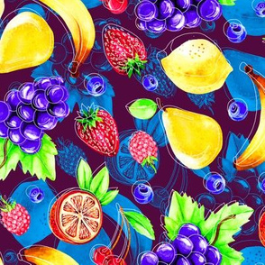 Pop art watercolor fruits