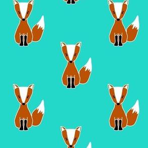 Cute Orange Foxes on Mermaid Teal