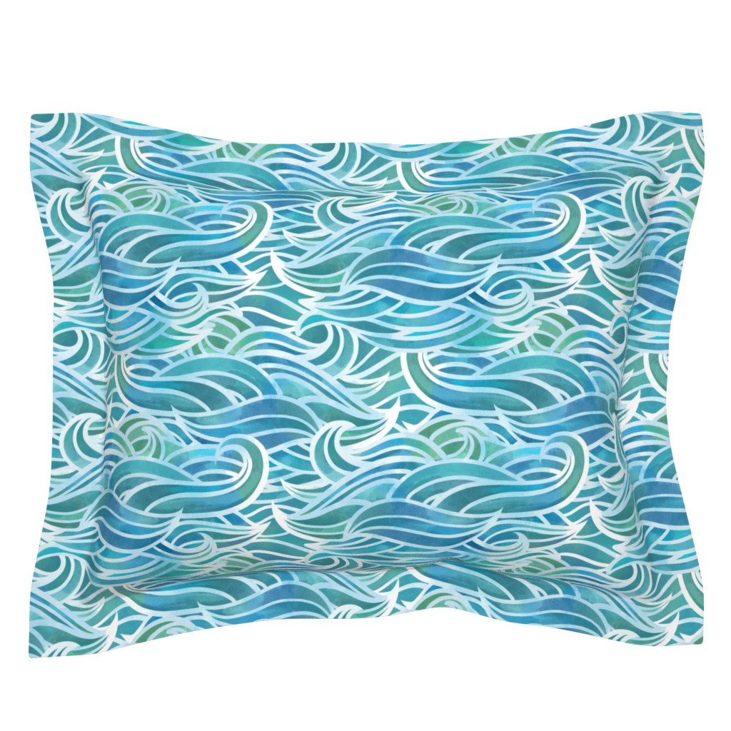 Sebright Pillow Sham featuring Abstract watercolor waves by elena_naylor