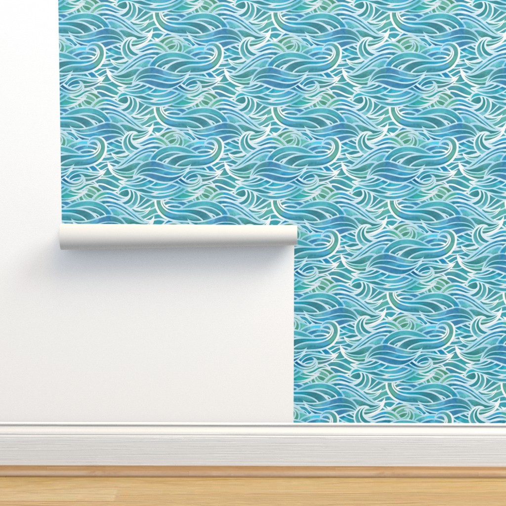 Isobar Durable Wallpaper featuring Abstract watercolor waves by elena_naylor