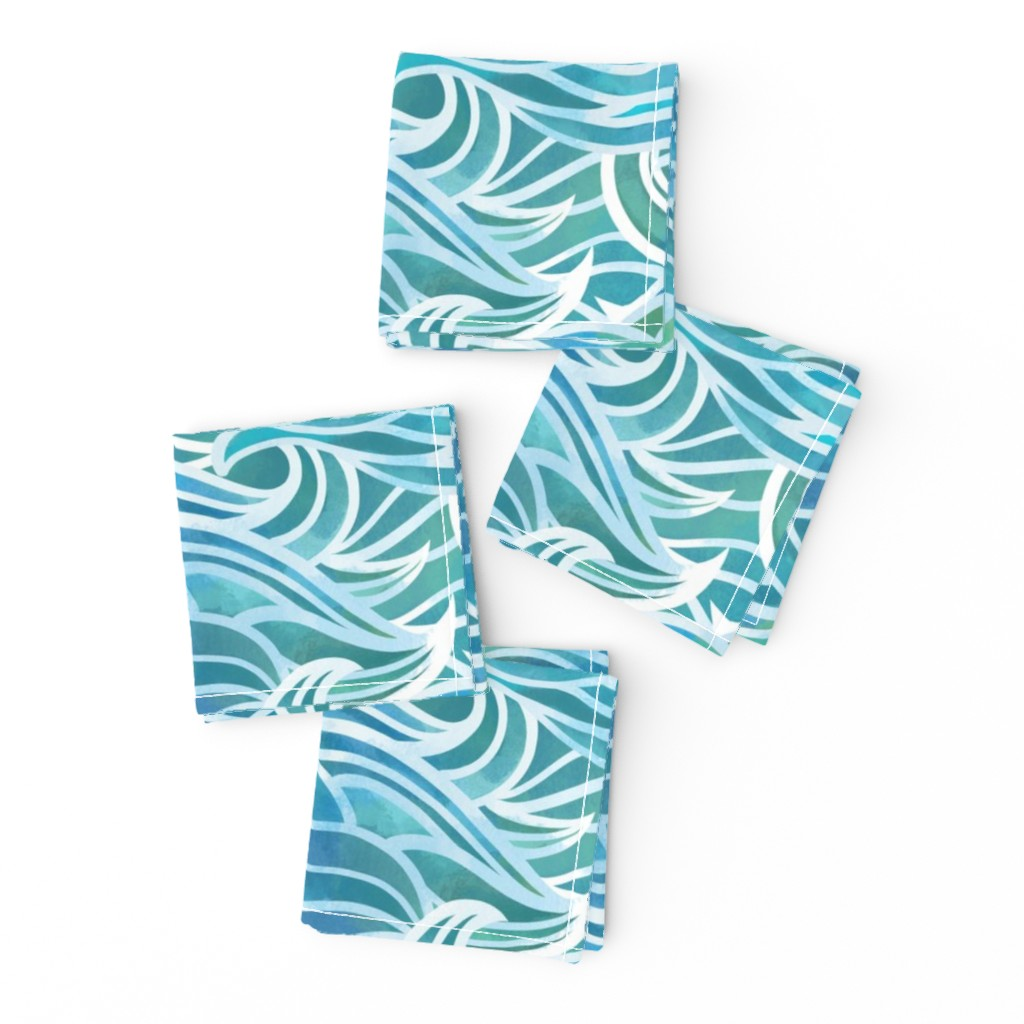 Frizzle Cocktail Napkins featuring Abstract watercolor waves by elena_naylor