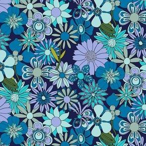 Chelsea* (Blues on Jackie Blue) || vintage 60s 70s enamel pin brooch flower floral garden pastel sheet illustration spring summer bouquet