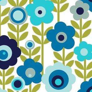 Marguerite* (Blues) || vintage sheet mod 70s 60s flower floral leaves stem garden spring summer