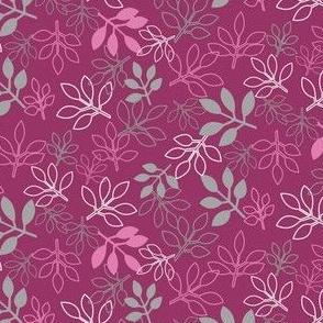 Rose Leaf Prints, Fuchsia and Gray