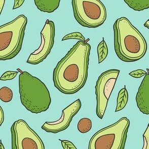 Avocado  Fabric on Mint Green
