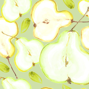 Pear Halves Water Colour