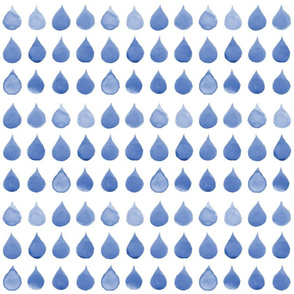 Blue Watercolor Rain Drops