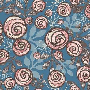 Snowy Rose Floral in Peach, Blue, Brown