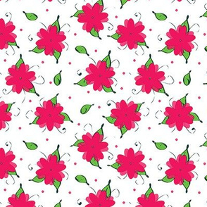 pink flowers and dots and leaves, oh my!